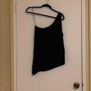 Black aqua one shoulder blouse